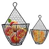 Porta Frutta Moderni (2Pz) Cestino Portafrutta da Appendere 1 Grande e 1 Piccola - Cesto Portafrutta Acciaio a Rete Metallica per Fiori, Frutta e Verdura e Decorazioni - Cesto Frutta e Verdura (Nero)