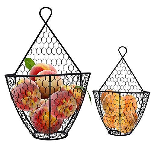 BELLE VOUS Fruteros de Cocina (2 Piezas) - Frutero Metal de Pared 1 Grande 1 Pequeño - Frutero Negro Alambre Rustico Enrejado para Almacenar Flores, Frutas y Vegetales, Decoraciones y Más (Negro)