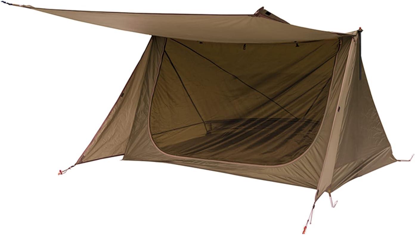KLFD Carpa Doble para Acampar Al Aire Libre Refugio De Supervivencia En La Jungla Equipo De Campamento Ventilado para Mosquitos A Prueba De Lluvia Carpa De 3 Estaciones Carpa Ultraligera,Marrón