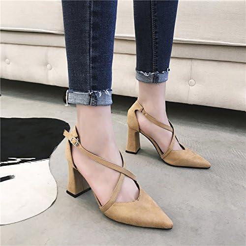 Ajunr Chambres élégantes et confortables bretelles croisées chaussures de loisirs port unique lumière pointe kakis chaussures pour femmes épais avec des souliers à talon 8cm Sandales,Femmes,Loisirs,été Mode