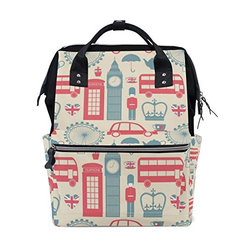 JinDoDo Backpack Cartoon Car Ferris Wheel Big Ben Student Bag Couple Backpack Mommy Bag Computer Bag Travel Bag