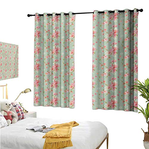 Mozenou Shabby Chic,Thermal Insulating Blackout Curtains,Retro Spring Blossom Flowers with French Garden Florets Garland Artisan Image Mint Pink,Isolate Sunlight Dark curtains63x45 Inch
