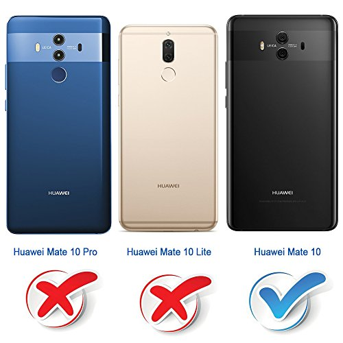 Mulbess Handyhülle für Huawei Mate 10 Hülle, Leder Flip Case Schutzhülle für Huawei Mate 10 Tasche, Dunkel Blau - 2