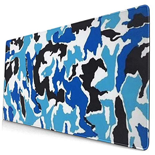 Black and Blue Camouflage Design Pattern XXL XL Large Gaming Mouse Pad Mat Long Extended Mousepad Desk Pad Non-Slip Rubber Mice Pads Stitched Edges (29.5x15.7x0.12 Inch)