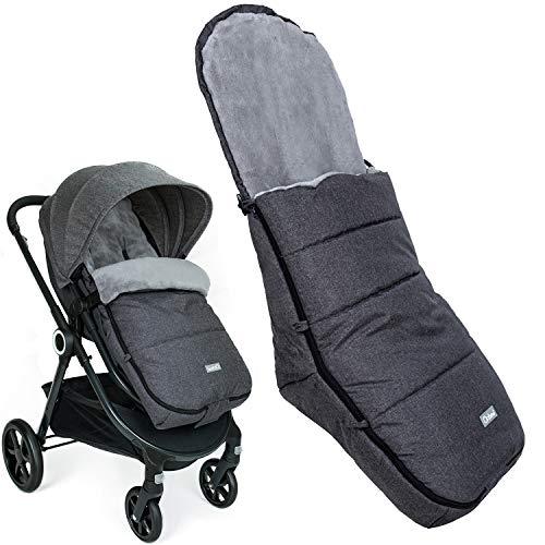 Orzbow Saco Silla Paseo Universal, Invierno saco capazo bebe -Impermeable Sacos Carrito Bebe (Negro)