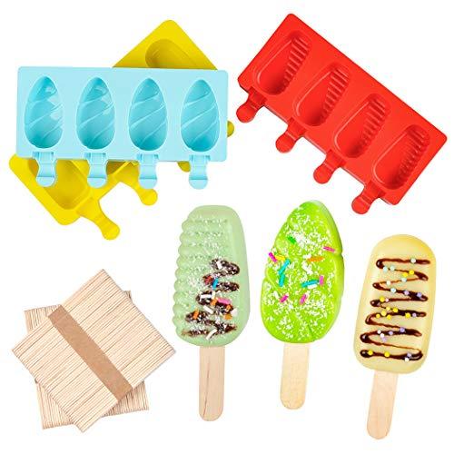 Eiswürfelform für selbstgemachtes Eis am Stiel, Silikonform mit 100 Holzstäbchen, 4 Mulden, 3er-Set
