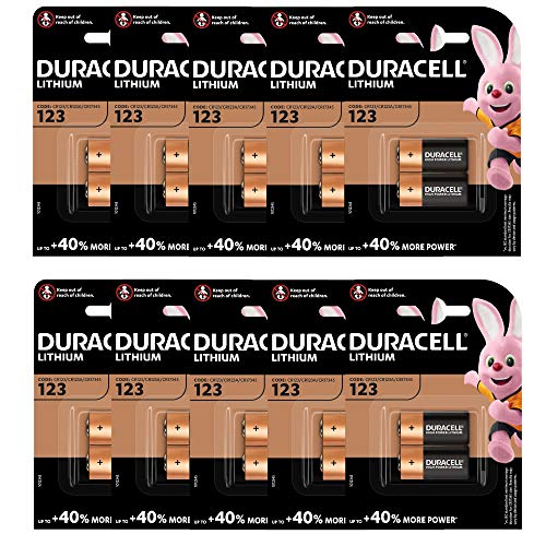 Duracell CR123 3 Volt Lithium Photo Batterie (123, CR123 A/DL123 A/). 10 x 2 Pack (20 Batterien)