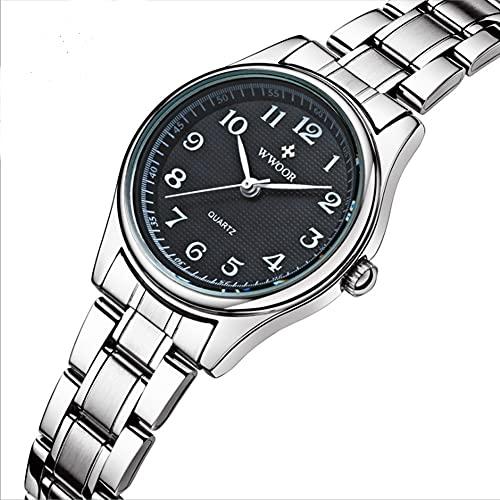 CHXISHOP Relojes retro de las mujeres, grandes relojes digitales de la banda de acero, relojes de cuarzo negro