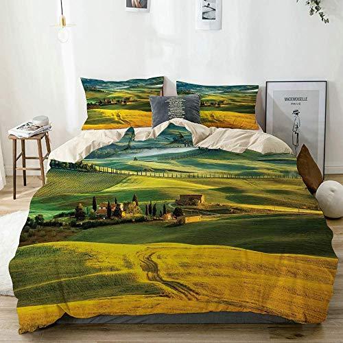 Bettwäscheset Beige, idyllische Landschaft der Toskana und Zypressen zum mittelalterlichen Bauernbild, dekoratives 3-teiliges Bettwäscheset King Size mit 2 Kissenbezügen Pflegeleicht, antiallergisch,