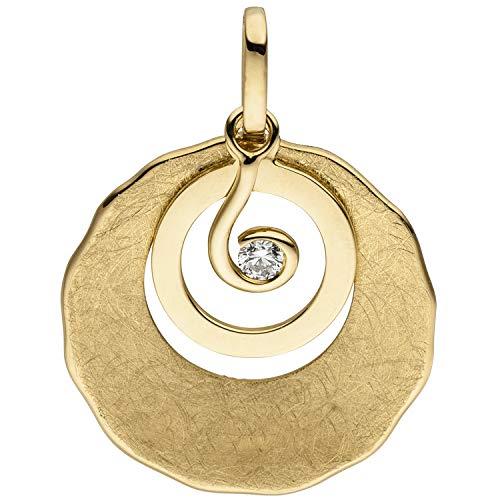 JOBO Damen-Anhänger aus 585 Gold eismatt mit Diamant