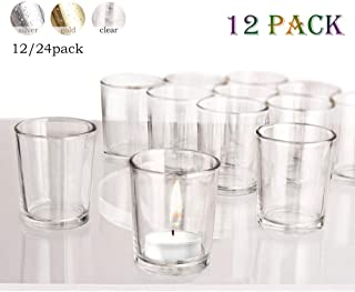 """Luxus Home Clear Votive Candle Holder, Glass Tealight Candle Holders for Weddings, Parties and Home Decor(2.64"""" H, 12PCS)"""