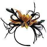 Tocado de plumas negras y doradas para boda, Royal Ascot Races