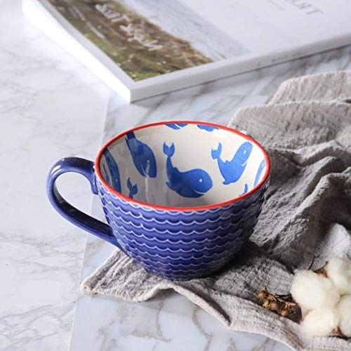 ZY&FC Simple Tasse Céramique Tasse Lait Café Tasse Grande Capacité Avoine Tasse Petit Déjeuner Tasse-Bleu Royal
