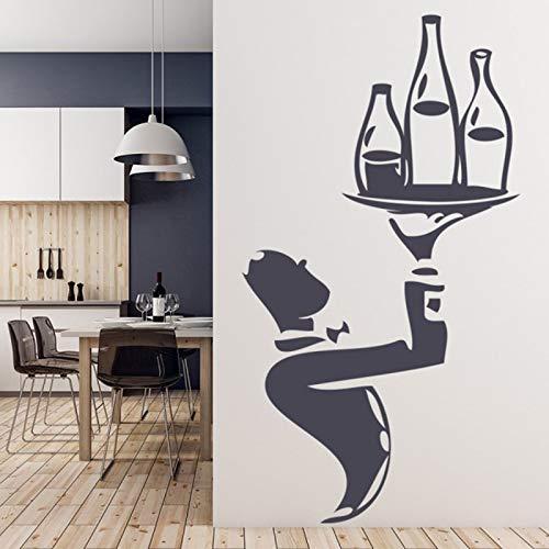 Etiqueta de la pared del vino del camarero etiqueta engomada de la ventana del restaurante de la cocina etiqueta autoadhesiva decoración DIY etiqueta de la pared A5 42x78cm