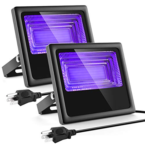 2 Pack 120W LED Black Lights - Waygor Blacklight Flood Light IP66 Waterproof Outdoor Blacklight for Dance Party, Stage Lighting, Body Paint, Aquarium, Fluorescent Poster, Glow in The Dark, Neon Glow