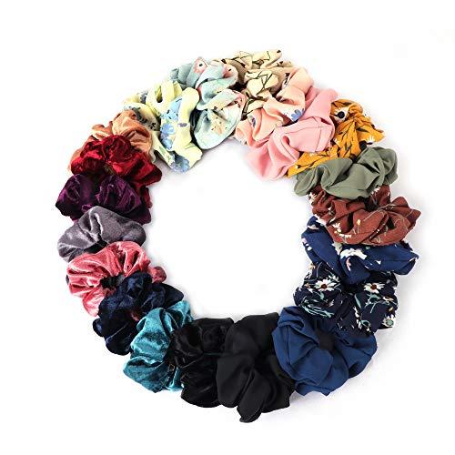 20PCS Haargummis weich elastisch für Damen, enthält 8 Chiffon-Blumen-Haargummis, 8 x Samt-Haarbänder, 4 x einfarbige Chiffon-Haargummis (verschiedene Farben)