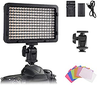 On-Camera Video Light Panel, Tolifo Ultra Bright 216 LED Conference Light Kit with Rechargeable Battery, 6 Colour Filters ...