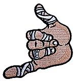 Shaka Hand BJJ Patch (3.5 Inches) Brazilian Jiu Jitsu Embroidered Iron/Sew on Badge Hang Loose Grappling GI Grappler Applique by Karma Patch