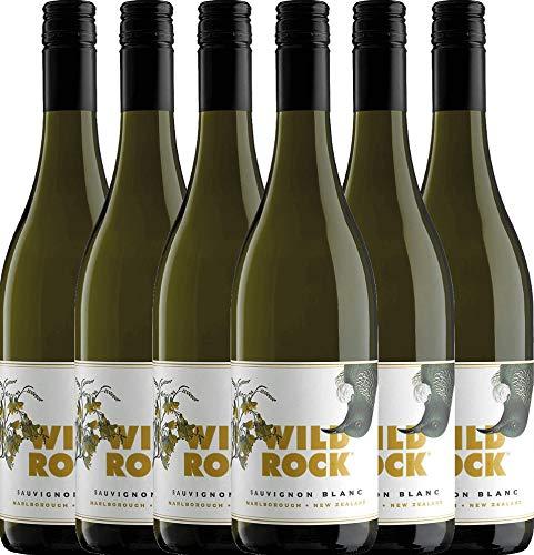 6er Paket - Sauvignon Blanc Marlborough 2019 - Wild Rock Wine Company | trockener Weißwein | neuseeländischer Wein von der Südinsel | 6 x 0,75 Liter