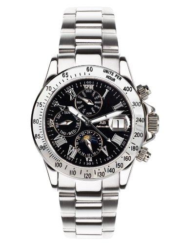 André Belfort 410138 - Reloj analógico de caballero automático con correa de acero inoxidable plateada - sumergible a 50 metros