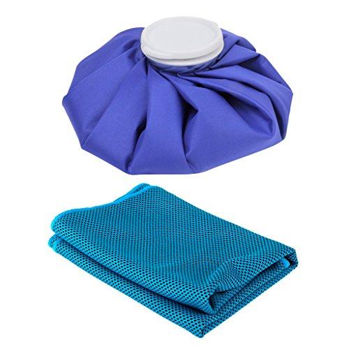 MagiDeal Sac de Glace Ice Bag Poche Vessie à Glace pour Soulagement Douleur des Blessures Sportives 26.5x8cm + Serviette de Refroidissement Cooling Ic