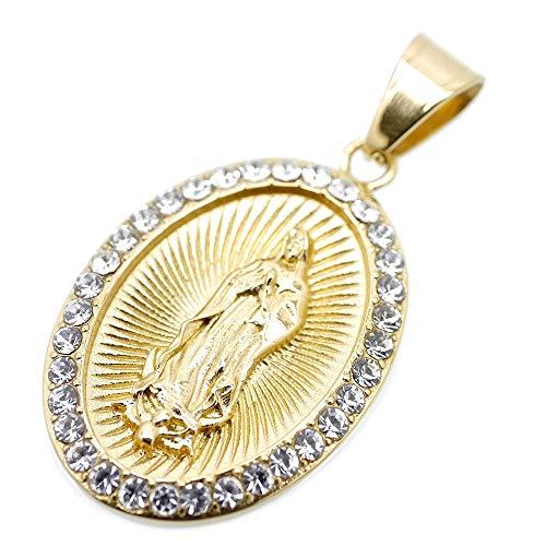 [シルバーワン] グアダルーペの聖母マリア ジルコニア ペンダント メンズ c4 金 大きめ ステンレス