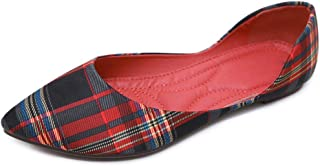LIURUIJIA Women's Classic Pointed Toe Ballet Flats Shoes Comfortable Slip on Plaid Moccasin Loafers for Work Party Dress PDC222-1