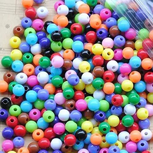 Colorato Acrilico Perle, 600PCS Perline Colorate per Braccialetti Acrilico, Perline Colorate per Collane, Perline Colorate per Decorazioni per la Creazione di Gioielli, Collana, Ciondolo (6/8/10MM)