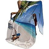 SfeatrutMAT Cute Plush Soft Blanket Childrens Girls Boys,Seaside,Tropical Beach Chair Sand Palm Trees