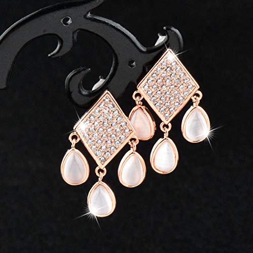 EHXWL Pendientes de ópalo de Gota de Agua de rombo de Cristal minúsculo de Moda para Mujeres Accesorios de Compromiso de Boda