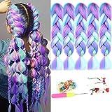 HiDoLa 4 Colors Mix Braiding Hair Extensions Jumbo Hair 5pcs/Lot 24 Inch Synthetic Colorful Braiding Hair Extension for Crochet Box Braids Twist Braiding Hair (PS18, Light Cyan/Pink/Purple/Green)