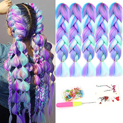 HiDoLa 4 Colors Mix Braiding Hair Extensions Jumbo Hair 5pcs/Lot 24 Inch Synthetic Colorful Braiding Hair Extension for Crochet Box Braids Twist Braiding Hair (PS18, Light Cyan/Pink/Purple/Green)