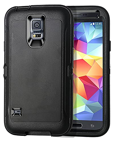 I-HONVA for Galaxy S5 Case Shockproof Dust Drop Proof 3-Layer Full Body Protection [Without Screen Protector] Rugged Heavy Duty Durable Cover Case for Samsung Galaxy S5 (i9600), Black