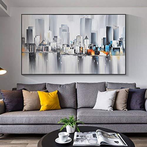 Stadt Bilder Gebäude Regen Boot abstrakte Kunst Leinwand Malerei Nacht Ölgemälde Wandbild für Wohnzimmer