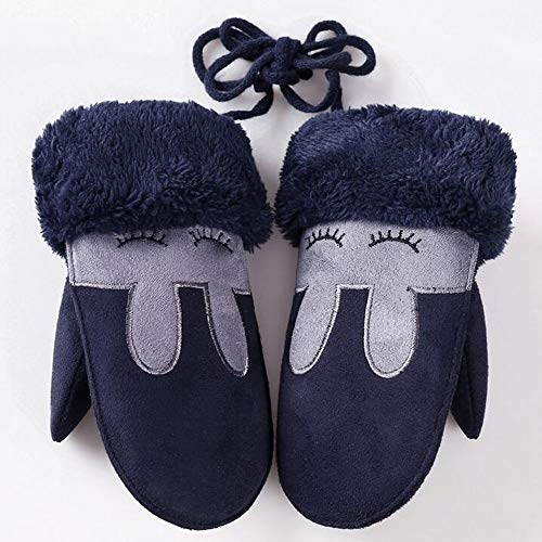 JFCUICAN Handschuhe Kaninchen Kinder Winter Thick Baumwolle Kaschmir Warm Veloursleder-Handschuhe Faux-Schaffell-Handschuhe (Color : D Dark Blue, Gloves Size : One Size)