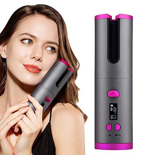 Rizador de pelo automático con pantalla LCD, temperatura ajustable y temporizador, varilla de cerámica giratoria recargable