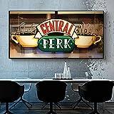 Café Lienzo Carteles e Impresiones escandinavas Cuadros de Arte de Pared utilizados para la decoración de la Sala,Pintura sin Marco,50x100cm