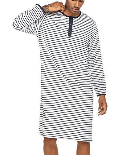 Nachthemd Herren Lang Schlafanzug Einteiliger Pyjama Gestreift Langarm Große Nachtwäsche mit Rundhals und Knopfleiste Weiß S