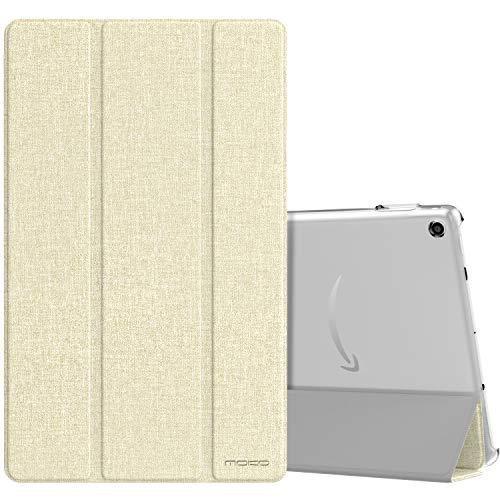 MoKo Hülle für Neue Amazon Fire HD 10 Tablet (9. Gen 2019 und 7. Gen 2017 Model), Ultra Slim Schutzhülle Smart Cover Hülle Auto Wake/Sleep Transluzent Rückseit für Fire HD 10.1