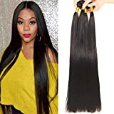 12A Brazilian Virgin Straight Hair 3 Bundles 30' 32' 34' Virgin Straight Human Hair Bundles 100% Unprocessed Remy Hair Bundles Natural Color