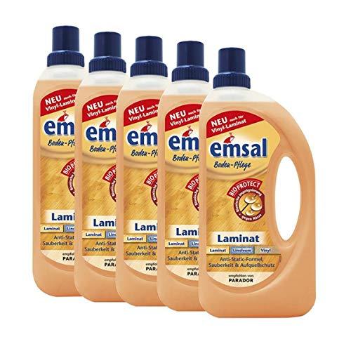 5x emsal Boden-Pflege Laminat 1 Liter mit Bioprotect - für Laminat, Linoleum & Vinyl