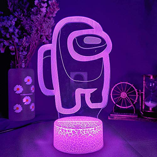 3d Illusion Night Light Led - Among Us 3d Illusion Desktop Lamp Coffee Table Decor Led Sensor Night Lamps Usb for Kids Gifts Bedroom Decoration. (7 color no remote)