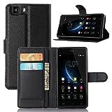 ECENCE Handy-Schutzhülle - Handytasche für Doogee X5 / X5c / X5 Pro Schwarz - Smarthone Case Cover stoßfest mit Kartenfach - Handycase mit Stand-Funktion 12010207