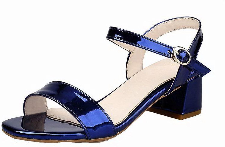 AmoonyFashion Women's Pu Kitten-Heels Open-Toe Solid Buckle Sandals, BUTLT006509