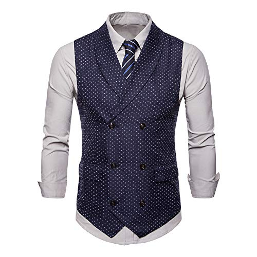 Bmeigo herenpak vest slim fit business formal V-hals Tweed vest casual vintage geruit dubbele rijen Gilet Top
