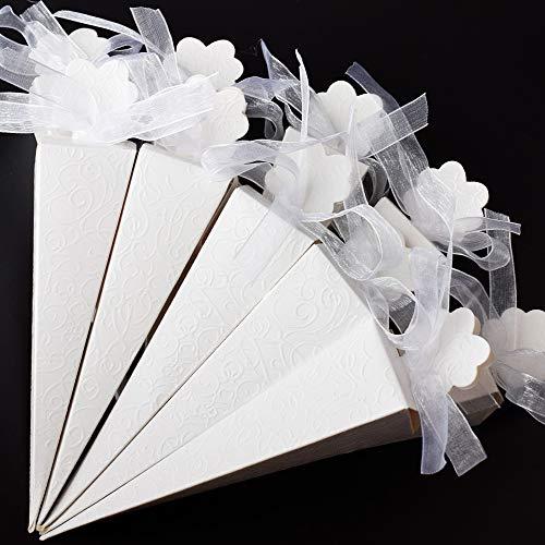 Tomkity 100 pz Portariso Portaconfetti in Cartoncino Cono Coni con Effetto Seta Bianca a Rilievo (Nastro Organza Compreso)