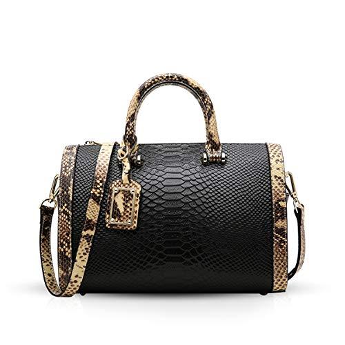 NICOLE&DORIS Vintage Ladies Handbags Genuine Leather Shoulder Bag Luxury Crocodile Pattern top handlesBlack