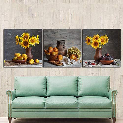 NOBRAND 3P Bodegones Girasoles Pinturas para la Cocina Fruta decoración de la Pared Arte Moderno Lienzo Cuadros de Pared para Sala de Estar Sin Marco 50x50cmx3