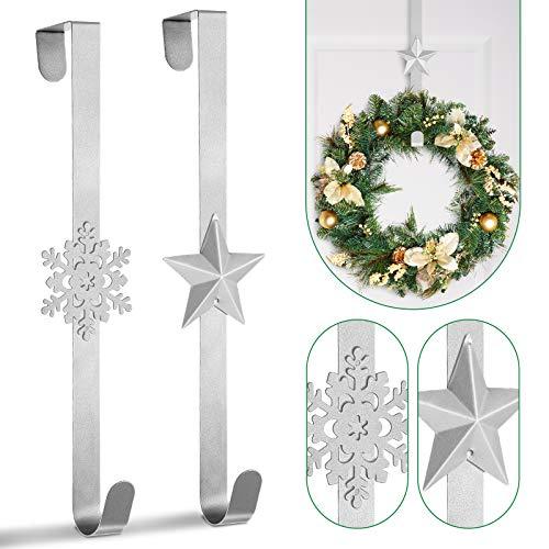 Whaline, 2 ganci per ghirlande di Natale, per appendere sopra la porta, in metallo, a forma di stella e fiocco di neve, per decorazioni natalizie, porte, casa, ufficio, argento, 38 cm