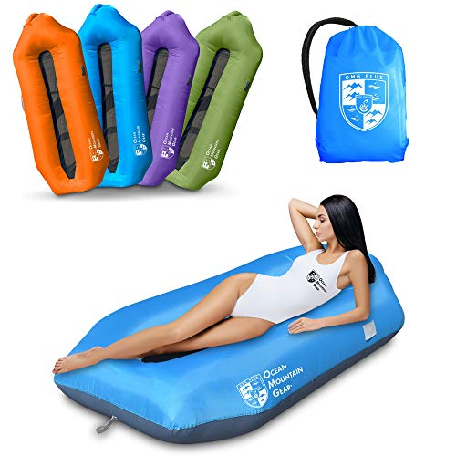 OMG Plus Multi-Function Dual Use Inflatable Air Lounger,Air Sofa & Leaking Free Air Couch for Parties Climbing Beach Traveling Camping (Blue)